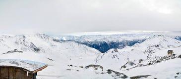 Het Panorama van de Winter van alpen royalty-vrije stock fotografie