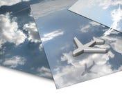 Het Panorama van de wolk met Vliegende Vliegtuigen Stock Foto