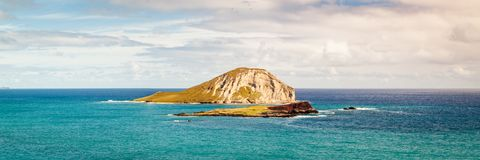 Het Panorama van het de Zeevogelheiligdom van de Staat van het Kaohikaipueiland stock fotografie