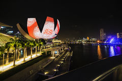 Het panorama van de zonsondergang van Singapore Royalty-vrije Stock Foto