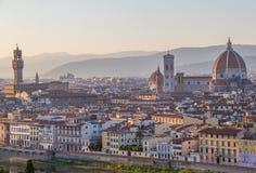 Het panorama van Florence bij zonsondergang Stock Fotografie