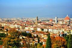 Het panorama van Florence, Italië stock foto's