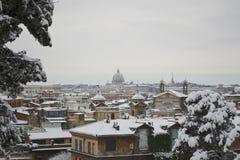 Het panorama van heilige Peter onder sneeuw van Pincio Royalty-vrije Stock Afbeeldingen