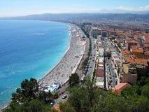 Het panorama van het de stadsstrand van Nice, Frankrijk stock foto
