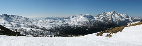 Het panorama van het dolomiet in de winter Stock Afbeelding