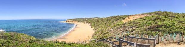 Het panorama van het klokkenstrand, Grote Oceaanwegkustlijn, Australi stock afbeeldingen