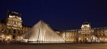 Het panorama van het Louvremuseum Stock Foto