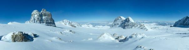 Het panorama van het massief van de winterdachstein. Royalty-vrije Stock Foto