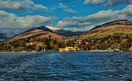 Het Panorama van het meerdistrict Stock Foto's