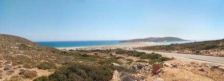 Het panorama van het Strand van Prassonissi royalty-vrije stock afbeeldingen