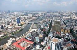 Het Panorama van Ho-Chi-Minh-Stad, Saigon Vietnam Royalty-vrije Stock Fotografie