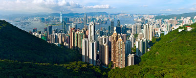 Het panorama van Hongkong stock foto's