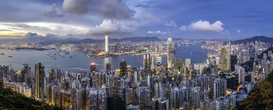 Het panorama van Hongkong stock afbeeldingen