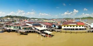 Het panorama van Kampongayer, Brunei Stock Foto