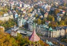 Het panorama van Karlovy varieert, Tsjechische republiek Royalty-vrije Stock Afbeelding