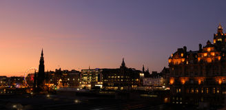 Het panorama van Kerstmis van Edinburgh royalty-vrije stock foto