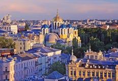 Het panorama van Kiev met Volodymyrsky-kathedraal, de Oekraïne Stock Foto's