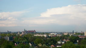 Het panorama van Krakau, timelapse stock video