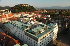 Het panorama van Ljubljana Slovenië stock foto's
