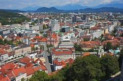 Het panorama van Ljubljana, Slovenië stock afbeeldingen