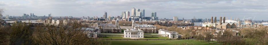 Het Panorama van Londen (van Greenwich) Royalty-vrije Stock Foto's
