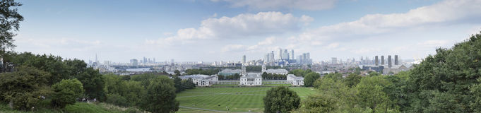 Het panorama van Londen van het Park van Greenwich Stock Afbeelding