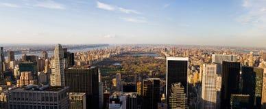 Het Panorama van Manhattan en van het Central Park Stock Afbeelding