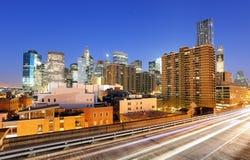 Het panorama van Manhattan met wolkenkrabbers, NYC Royalty-vrije Stock Afbeeldingen