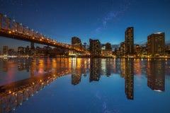 Het panorama van Manhattan van Roosevelt Island-NY Stock Afbeelding