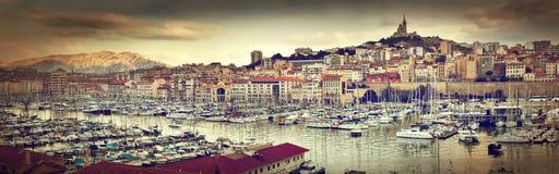 Het panorama van Marseille, Frankrijk, beroemde haven. Stock Afbeelding