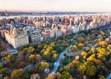 Het panorama van New York van Centraal park, luchtmening stock fotografie