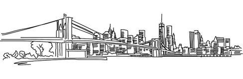 Het Panorama van New York met de brug van Brooklyn Stock Afbeelding