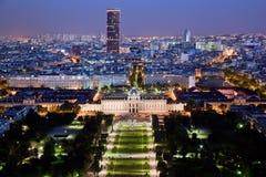 Het panorama van Parijs, Frankrijk bij nacht. Royalty-vrije Stock Fotografie