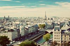 Het panorama van Parijs, Frankrijk De Toren van Eiffel, de rivier van de Zegen Stock Afbeeldingen