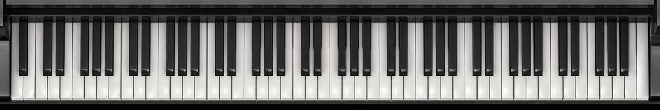 Het panorama van pianosleutels Stock Foto's