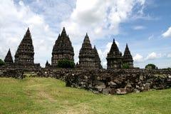 Het panorama van Prambanantempels Stock Foto's