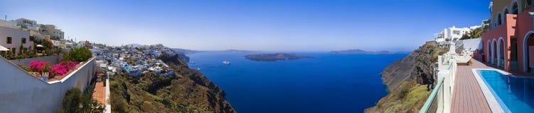 Het panorama van Santorini - Griekenland Stock Foto