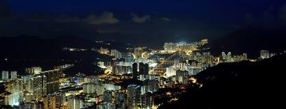 Het panorama van Shatin nachtmening Stock Foto