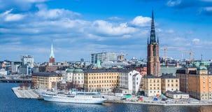 Het panorama van Stockholm van Monteliusvägen Stock Afbeeldingen
