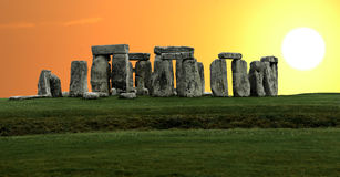 Het panorama van Stonehenge stock afbeeldingen