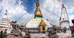Het panorama van Swayambhunathstupa royalty-vrije stock foto