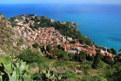 Het panorama van Taormina (Sicilië) Royalty-vrije Stock Afbeelding