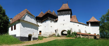 Het panorama van Viscri, Transsylvanië, Roemenië stock afbeelding