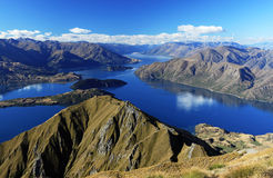 Het panorama van Wanaka van het meer stock afbeelding