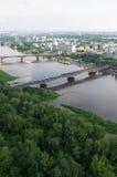 Het panorama van Warshau, Wis?a-rivier, bruggen Royalty-vrije Stock Foto