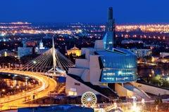 Het panorama van Winnipeg bij zonsondergang Stock Foto