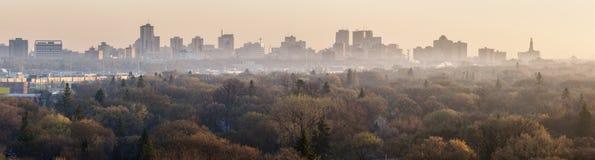 Het panorama van Winnipeg bij zonsopgang royalty-vrije stock foto