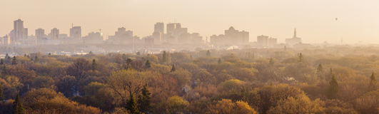 Het panorama van Winnipeg bij zonsopgang Stock Fotografie