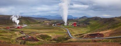 Het panoramamening Noordoostelijk IJsland Scandinavië van de Krafla geothermische macht royalty-vrije stock afbeeldingen
