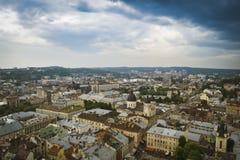 Het panoramamening van de Lviv oude stad Stock Afbeelding